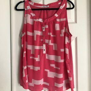 Pink/White sleeveless top